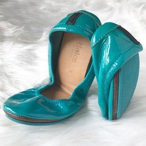 Tieks in Tiek Blue Patent Leather Teal Ballet Flat